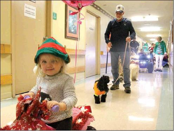 Bryleigh Short, the 22-month-old daughter of Chelsey Short, CNA, rides in the parade, followed by animal entrant Sadie with Herbie Huffman. Pets were dressed in festive attire for the event.