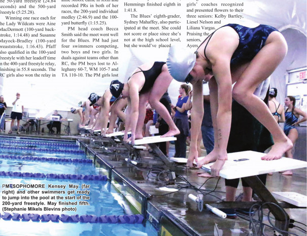 PM SOPHOMORE Kensey May (far right) and other swimmers get ready to jump into the pool at the start of the 200-yard freestyle. May finished fifth. (Stephanie Mikels Blevins photo)