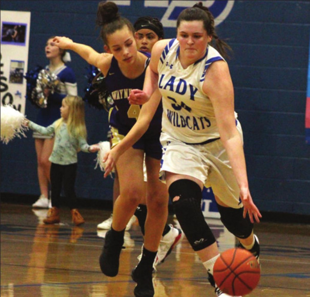 BREAKING AWAY from Waynesboro's Jaden Sprouse is RC senior forward Graceon Armstrong, who led the Wildcats players with 17 points, 18 rebounds and four blocks. (Stephanie Mikels Blevins photo)