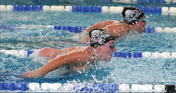 RC FRESHMAN Sofia Vargas leads sophomore Susanne Mayock-Bradley in the girls' 200-yard individual medley. Mayock-Bradley caught up and placed eighth in 2:31.46, and Vargas followed in 10th in 2:37.08. (Albert Vargas photo)