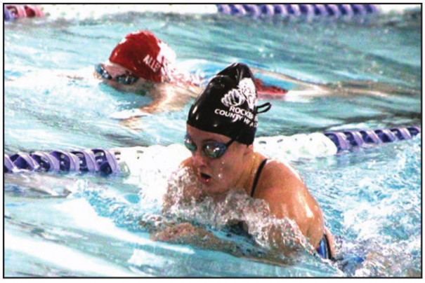 RC SOPHOMORE Susanne Mayock-Bradley swims the breaststroke section of the girls' 200-yard individual medley, in which she placed third. (Stephanie Mikels Blevins photo)