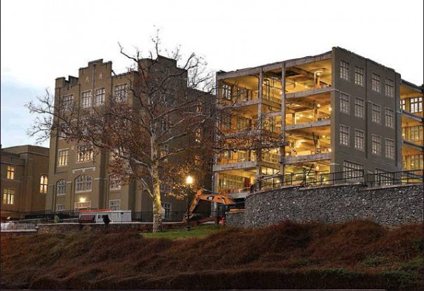 ABOVE, construction continues on Scott Shipp Hall this fall, one of several projects underway at Virginia Military Institute this year.AT LEFT, among those other projects is the new VMI Post Police building, which is scheduled for completion in May. (VMI photos by Kelly Nye)