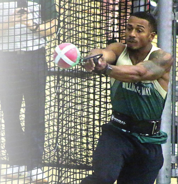 KJ COOK gets ready to launch the weight throw. Cook won with a lifetime-best throw. (Stephanie Mikels Blevins photo)