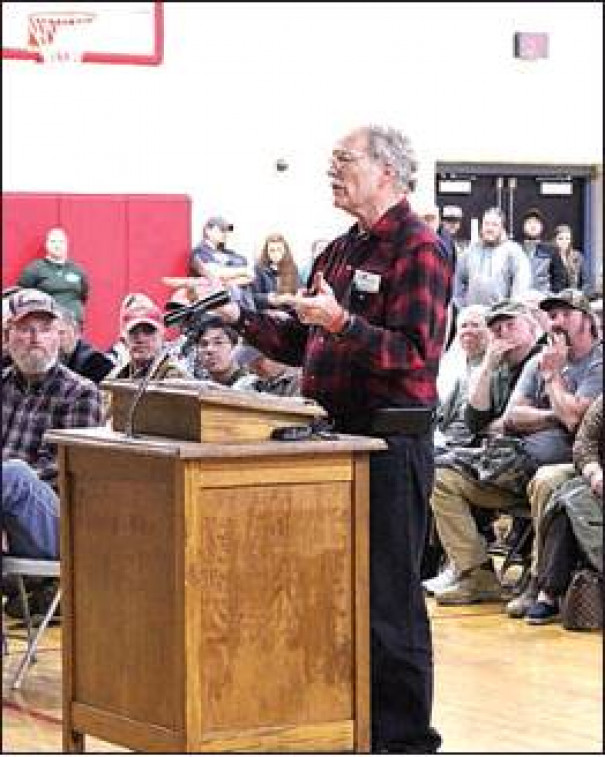 GALEN LEMMON of Glasgow argued that gun rights prevent genocide. (Ed Smith photo)
