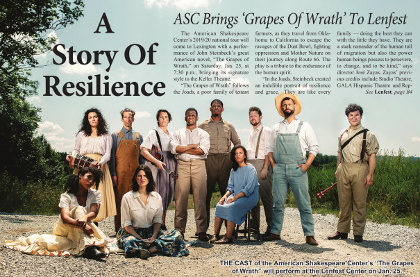 """THE CAST of the American Shakespeare Center's """"The Grapes of Wrath"""" will perform at the Lenfest Center on Jan. 25."""