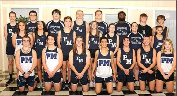 MEMBERS OF the PM boys and girls indoor track and field teams are (front row, from left) Colin Donnelly, David Williams, Nick Reid, Sanzhar Abdimazhitov, Kedryn Chandler, Cooper Braddy, Skylar Hartless, (middle row) Grayson Shields, Anastasia Harshaw, Matthew Hemmings, Koya Chandler, Jillian Wheelock, Jenna Porterfield, Kovyk Chandler, (back row) Trevor Tomlin, Brendon Conley, Zavery Wallace, Holden Kerr, Trey Orren, Omar Massenberg, Colton Staton and Brenden Plogger.