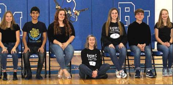 COMPRISING THE PM girls and boys swimming teams are (front left) Kensey May, Sanzhar Abdimazhitov, Breanne Moore, head coach Becca Smith, Taylorann Cash, Matthew Hemmings and Sydney Mahaffey. Not pictured is Ella Floyd.