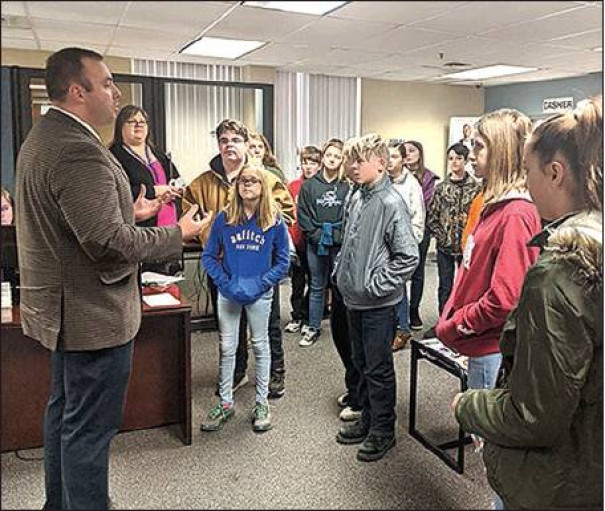 Over 200 students from Maury River Middle School visited the Clifton Forge campus of Dabney S. Lancaster Community College Nov. 21 to learn about the many programs available at the college. Student Services Director Joe Hagy was one of many DSLCC staff members who spoke to the middle-schoolers.