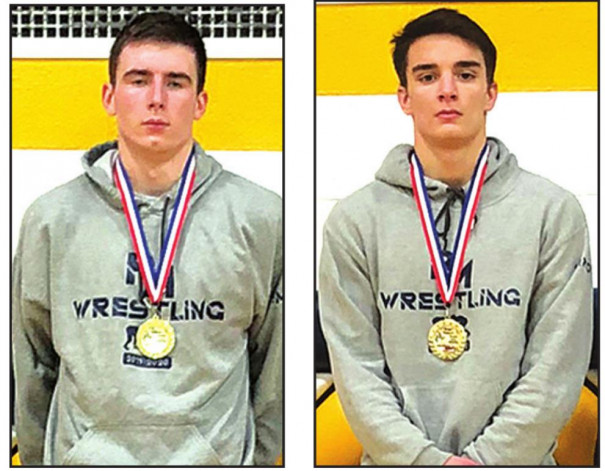 PM SENIOR wrestlers Trent Fitzgerald (left) and Nick Craft wear their medals after winning individual titles at the 1C sub-regional tournament. Fitzgerald won at 182-pounds, and Craft won at 138. (Jeremiah Brockenbrough photos)