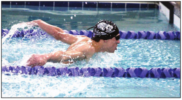 RC SOPHOMORE Lincoln Garcia comes up for air during the butterfly section of the boys' 200-yard individual medley, in which he placed second. (Stephanie Mikels Blevins photo)