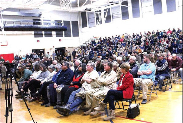 EVERY SEAT was filled at the citizens' comment portion of Monday's meeting of the Rockbridge County Board of Supervisors. In order to accommodate the large crowd, this part of the meeting was moved to Maury River Middle School from the county administration building. (Ed Smith photo)