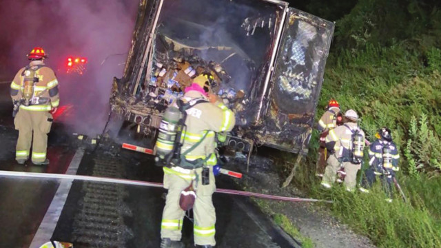 Truck Carrying Milk Catches Fire